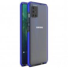 """SKAIDRUS TPU DĖKLAS SU SPALVOTU RĖMU """"SPRING CASE"""" Samsung Galaxy A51 tamsiai mėlynas"""