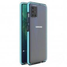 "SKAIDRUS TPU DĖKLAS SU SPALVOTU RĖMU ""SPRING CASE"" Samsung Galaxy A51 žydras"