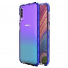 """SKAIDRUS TPU DĖKLAS SU SPALVOTU RĖMU """"SPRING CASE"""" Samsung Galaxy A70 tamsiai mėlynas"""
