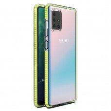 """SKAIDRUS TPU DĖKLAS SU SPALVOTU RĖMU """"SPRING CASE"""" Samsung Galaxy A71 geltonas"""