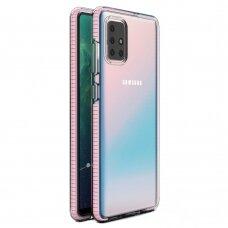 """SKAIDRUS TPU DĖKLAS SU SPALVOTU RĖMU """"SPRING CASE"""" Samsung Galaxy A71 šviesiai rožinis"""