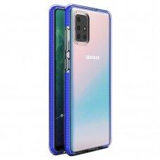 """SKAIDRUS TPU DĖKLAS SU SPALVOTU RĖMU """"SPRING CASE"""" Samsung Galaxy A71 tamsiai mėlynas"""