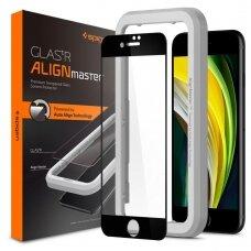 Pilnai dengiantis apsauginis stiklas Spigen Alm Glass Fc Iphone 7/8/Se 2020 juodais kraštais UCS062