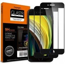 Pilnai dengiantis apsauginis stiklas Spigen Glass Fc 2-Pack Iphone 7/8/Se 2020 juodais kraštais UCS062