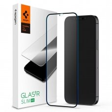 Aukštos Kokybės Apsauginis Stiklas Spigen Glass Fc Iphone 12 Pro Max Juodais Kraštais