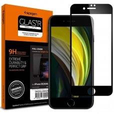 Pilnai dengiantis apsauginis stiklas Spigen Glass Fc Iphone 7/8/Se 2020 juodais kraštais UCS062