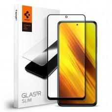 Apsauginis stikliukas SPIGEN GLASS FC XIAOMI POCO X3 NFC Juodas