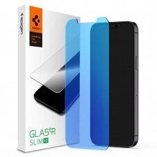 Aukštos kokybės grūdintas stiklas su apsauga nuo mėlynos šviesos Spigen Glass.Tr Antiblue Iphone 12 Mini
