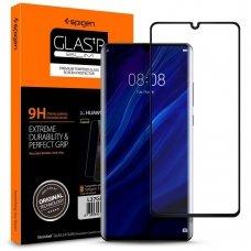 Aukštos Kokybės Apsauginis Stiklas Spigen Slim Huawei P30 Pro Juodais Kraštais