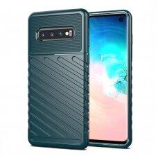 """TPU Dėklas nugarėlė """"Thunder Case Flexible Tough Rugged"""" Samsung Galaxy S10 žalias (apz39) UCS007"""