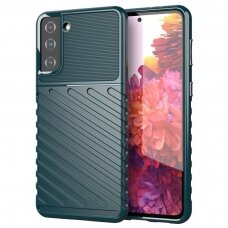 Dėklas Thunder Case Flexible Tough Rugged Cover TPU Samsung Galaxy S21 5G Žalias