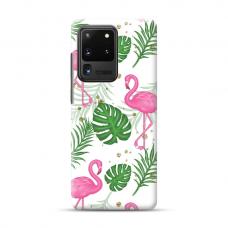 "TPU dėklas unikaliu dizainu 1.0 mm ""u-case Airskin Flamingos design"" Samsung Galaxy S20 Ultra telefonui"