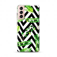 "TPU dėklas unikaliu dizainu 1.0 mm ""u-case Airskin Leaves 2 design"" Samsung Galaxy S21 telefonui"