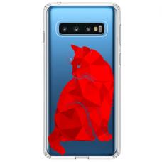 """Tpu Dėklas Unikaliu Dizainu 1.0 Mm """"U-Case Airskin Red Cat Design"""" Samsung Galaxy S10 Plus Telefonui"""