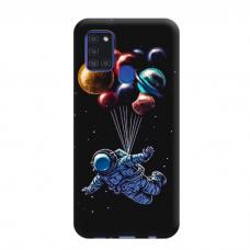 """TPU dėklas unikaliu dizainu 1.0 mm """"u-case Airskin Cosmo design"""" Samsung Galaxy A21S telefonui"""
