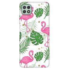 "TPU dėklas unikaliu dizainu 1.0 mm ""u-case Airskin Flamingos design"" Samsung Galaxy A22 5G telefonui"