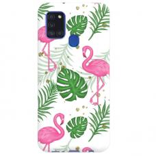 "TPU dėklas unikaliu dizainu 1.0 mm ""u-case Airskin Flamingos design"" Samsung Galaxy A21S telefonui"