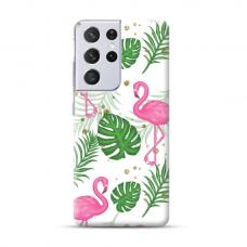 "TPU dėklas unikaliu dizainu 1.0 mm ""u-case Airskin Flamingos design"" Samsung Galaxy S21 Ultra telefonui"