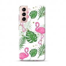 """TPU dėklas unikaliu dizainu 1.0 mm """"u-case Airskin Flamingos design"""" Samsung Galaxy S21 Plus telefonui"""
