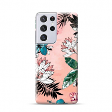 "TPU dėklas unikaliu dizainu 1.0 mm ""u-case Airskin Flowers 1 design"" Samsung Galaxy S21 Ultra telefonui"