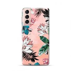 """TPU dėklas unikaliu dizainu 1.0 mm """"u-case Airskin Flowers 1 design"""" Samsung Galaxy S21 Plus telefonui"""