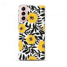 """TPU dėklas unikaliu dizainu 1.0 mm """"u-case Airskin Flowers 2 design"""" Samsung Galaxy S21 Plus telefonui"""