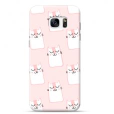 "Tpu Dėklas Unikaliu Dizainu 1.0 Mm ""U-Case Airskin Pink Kato Design"" Samsung Galaxy S6 Edge Telefonui"