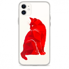 """TPU DĖKLAS UNIKALIU DIZAINU 1.0 MM """"U-CASE AIRSKIN RED CAT DESIGN"""" IPHONE 11 TELEFONUI"""