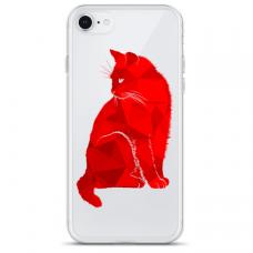 """Tpu Dėklas Unikaliu Dizainu 1.0 Mm """"U-Case Airskin Red Cat Design"""" Iphone 7 Plus / Iphone 8 Plus Telefonui"""