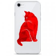 "Tpu Dėklas Unikaliu Dizainu 1.0 Mm ""U-Case Airskin Red Cat Design"" Iphone 7 / Iphone 8 / Iphone Se 2020 Telefonui"