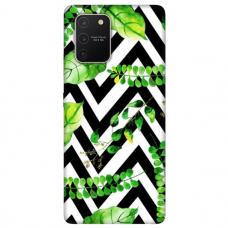 "Tpu Dėklas Unikaliu Dizainu 1.0 Mm ""U-Case Airskin Leaves 2 Design"" Samsung Galaxy S10 Lite Telefonui"