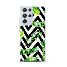 "TPU dėklas unikaliu dizainu 1.0 mm ""u-case Airskin Leaves 2 design"" Samsung Galaxy S21 Ultra telefonui"
