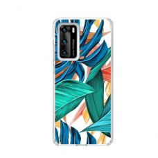 "TPU DĖKLAS UNIKALIU DIZAINU 1.0 mm ""U-CASE AIRSKIN LEAVES DESIGN"" HUAWEI P SMART 2021 TELEFONUI"
