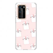 "Tpu Dėklas Unikaliu Dizainu 1.0 Mm ""U-Case Airskin Pink Kato Design"" Huawei P40 Telefonui"