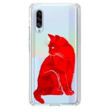"""Tpu Dėklas Unikaliu Dizainu 1.0 Mm """"U-Case Airskin Red Cat Design"""" Samsung Galaxy A7 2018 Telefonui"""