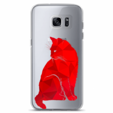 "Tpu Dėklas Unikaliu Dizainu 1.0 Mm ""U-Case Airskin Red Cat Design"" Samsung Galaxy S6 Edge Telefonui"
