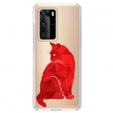 """Tpu Dėklas Unikaliu Dizainu 1.0 Mm """"U-Case Airskin Red Cat Design"""" Huawei P40 Telefonui"""