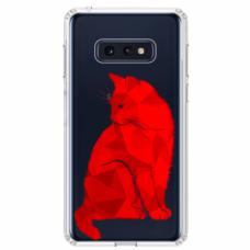"""Tpu Dėklas Unikaliu Dizainu 1.0 Mm """"U-Case Airskin Red Cat Design"""" Samsung Galaxy S10E Telefonui"""