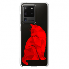 "Tpu Dėklas Unikaliu Dizainu 1.0 Mm ""U-Case Airskin Red Cat Design"" Samsung Galaxy S20 Ultra Telefonui"