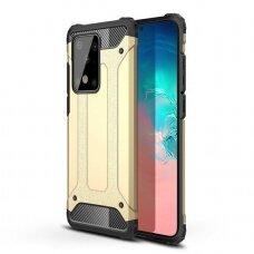 """Tvirtas Apsauginis Dėklas Iš Tpu Ir Pc Plastiko """"Hybrid Armor Rugged"""" Samsung Galaxy S20 Plus Auksinis"""