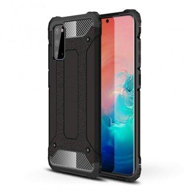 """Tvirtas Apsauginis Dėklas Iš Tpu Ir Pc Plastiko """"Hybrid Armor Rugged"""" Samsung Galaxy S20 Juodas"""