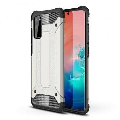 """Tvirtas Apsauginis Dėklas Iš Tpu Ir Pc Plastiko """"Hybrid Armor Rugged"""" Samsung Galaxy S20 Sidabrinis"""