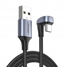 žalias Nylon Braided USB - USB Type C angled kabelis 2 m 3 A for players gamers pilkas (70315) (ctz220)