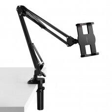 žalias universal phone tablet holder with folding long arm juodas ir pilkas (50394) (ctz220)