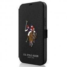 Originalus atverčiamas Us Polo dėklas Usflbkp12Mpugflbk Iphone 12/12 Pro juodas Polo Embroidery kolekcija