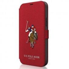 Originalus atverčiamas Us Polo dėklas Usflbkp12Spugflre Iphone 12 Mini raudonas Polo Embroidery kolekcija
