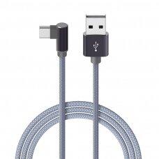 USB kabelis Borofone BX26 Type-C 1.0m metalinis pilkas