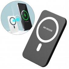"""Magnetinė Belaidė Išorinė Baterija """"WK Design"""" 5000 mAh (suderinama su MagSafe) Juoda (WP-215 black)"""