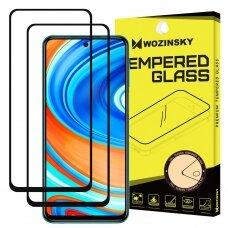 LCD apsauginis stiklas Wozinsky 2x Tempered Glass Full skirta Xiaomi Redmi Note 9 Pro / Redmi Note 9S / Poco X3 NFC Juodas