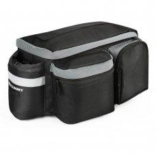 Wozinsky Bicycle Bike Pannier Bag Rear Trunk Bag With Shoulder Strap And Bottle Case 6L Black (Wbb3Bk)